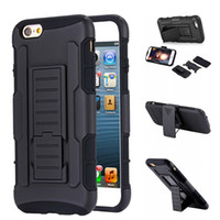 Wholesale Military Duty Hybrid Iphone - Military Hybrid Cover For iphone 6 6s 7 plus Case Black Coque For iPhone Case Heavy Duty Kickstand Clip Armor Hard Phone Bag