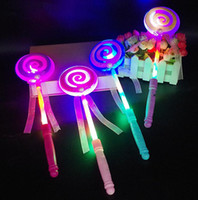Wholesale Big Lollipops - Lighting up flashing Lollipop wand LED glow stick Funny Halloween Christmas Hen Club Party Accessory kids girl fancy dress props bag filler
