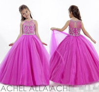 Wholesale Cheap Fuschia Beads - Princess Wedding Toddler Fuschia 2016 Pageant Ball Gowns Flower Girl Dresses Formal Long Cheap For Little Girls Dress Crystals Girl's Cheap