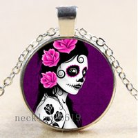Wholesale Sugar Skull Charms - 10pcs Sugar Skull Women Chain Necklace,Christmas Birthday Gift,Cabochon Glass Necklace Silver Bronze Black Fashion Jewelry Pendant A583