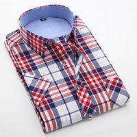 Wholesale British Holidays - Wholesale- Fashion Short Sleeve Men Plaid Shirt Cotton Boys Male Slim Fit Casual Shirt Beach Holiday British Summer Style Plus Size 4XL