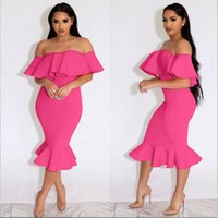 Wholesale Dress Sexy Xxl Neck - Sexy Women Ruffle Dress Off Shoulder Slash Neck Party Club Wear Slim Bodycon Dress S-XXL Plus Size Lady