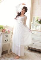 frauen s weiße baumwoll-nachthemden großhandel-Großhandels- Freies Verschiffen-100% Baumwolle Prinzessin Nightdress Frauen Long Nightgowns White Lace Sleepwear