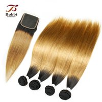 Wholesale Human Hair Soft Silky - Colored Peruvian Straight Ombre Human Hair Weaves Silky Soft T1b 27 Dark Root Honey Blonde Extensions 4 Bundles with Lace Closure