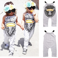 Wholesale trendy jumpsuits - Mikrdoo 2017 New Trendy Baby Rompers Kids Cotton Gap Girl's Outfit Grey Sleeveless Romper Lion Tiger Fashion Printed Jumpsuit Wholesale 1-5Y