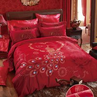 Wholesale Peacock Comforter Set Full - Red Peacock Luxury wedding Home Textiles Queen king size 4pcs bedding set Bedding Supplies sheet duvet cover pillowcase bedclothes sets