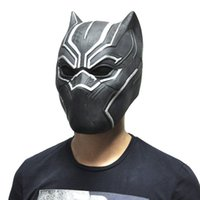 Wholesale Full Halloween - Wholesale-Black Panther Masks Movie Fantastic Four Cosplay Men's Latex Party Mask for Halloween