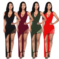 Wholesale Casual Asymmetrical Skirts - Tank V Neck Asymmetrical Women's Casual Dresses Sheath Lace Sexy Nigh Party Dress Gowns One Side Short Long Summer Skirt Women Clothes