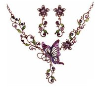 Wholesale Pink Butterfly Necklace Sets - Fashion Necklace Sets Women Baroque Style Pendant Necklaces Butterfly Alloy Shape Necklaces Lady Party Jewelry Sets Boutique Short Necklace