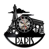 Wholesale Decoration Paris - France Paris City Black Vinyl Clock Bedroom Decoration