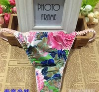 Wholesale Drop Shipping Sexy Thongs - FBA Custom Logo Drop Shipping Built Brand hot 100% Silk Women's Panties Sexy Thong Underwear Woman Bikini free size