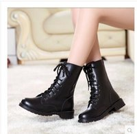 Wholesale United Works - 2017 autumn and winter new women Europe and the United States warm non-slip flat black women's military boots Knight boots large size boots