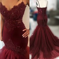 Wholesale White Front Lace Up Corset - Heavy Beading Burgundy Mermaid Prom Dresses Sexy Sheer Spaghetti Straps Corset Ruffles Skirt Sweep Train Evening Dress Formal Gown 2018