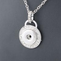 Wholesale Wholesale Women Fashion Jewlery - Fashion Metal Snap Necklace Metal Round Crystal Elegant Length 50CM fit 18MM Snap Buttons Jewlery Wholesale Women ZG010