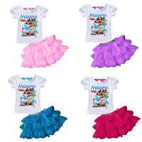 Wholesale Christmas Skirt Suits - Moana TUTU Skirt Suits Pettiskirt Short Sleeve T-shirt Girls Print Dream Tropical Ocean Baby Kids Dress Children Dress