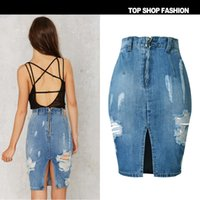 Wholesale Sexy Jeans Skirts - saias femininas sexy 2017 denim jeans cowboy hole wrapped bodycon skirt blue jeans DHL Free Shipping