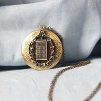 Wholesale Time Lockets - antique TARDIS locket necklace Doctor Who inspired time space ship jewelry Police Box locket CHARM time lord gift man charm C75L