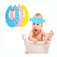Wholesale Baby Hats Eyes - Wholesale- 1 pcs Cartoon Shower Cap Kids Baby Shampoo Cap Bathing Water Thermometer Children Girls Shower Safe Cap Hat Wash Hair Eye Shield
