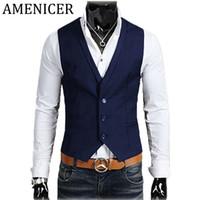 Wholesale Korean Button Down - Wholesale- Newest Men Fashion Vests Korean Casual Turn-Down Collar Single Breasted Mens Vests Slim Fit Erkekler Yelek Male-Clothing-Brands