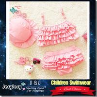 Wholesale Swim Wear 3t Girls - 3PCS SET Girl Beach Wear Lovely Cute Princess Pink Swinwear Children Kids Swimsuit Bikini Two Piece Swim Wear Child Swimming Costume