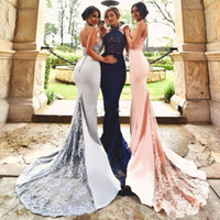 Выполненные на заказ платья выпускного вечера Mermaid 2017 Halter Appliques Beads Backless Trumpet Navy Blue Blush Silver Evening Party Gowns
