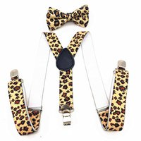 Wholesale Leopard Braces Suspender - Wholesale- Hot Leopard Printing Kids Suspenders&Bowtie Set Adjustable Braces Elastic Y-back Baby Boys Girls Suspenders And Bow Tie