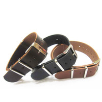 Wholesale Nato Leather Strap - Wholesales 18mm 20mm 22mm Black Brown Genuine Calfskin Leather Nylon Nato Watch Band Strap Watchband
