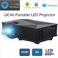 Wholesale Ir Home Theater - New UNIC UC46 LCD Projector 1200 Lumens 2.4G WiFi Wireless Portable LED Home Theater Cinema Multimedia 1080P USB SD HDMI VGA IR UC40