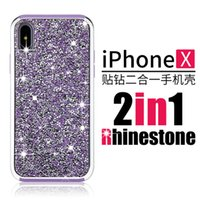 Wholesale Cover Diamond For Cellphone - For iphone x Case Luxury 2in1 Diamond Soft TPU Shockproof Back Cover Cellphone Cases for iphone x