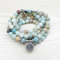 Wholesale Ohm Necklace - Fashion Women`s 8 mm Matte Amazonite 108 Mala Beads Bracelet or Necklace Lotus Buddha Ohm Charm Bracelet Free Shipping NS1142