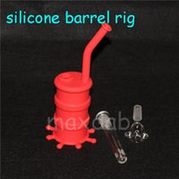 Wholesale silicone barrel bong for sale - Group buy Dry Herb Unbreakable Water Percolator Bong Portable Hookah Silicone Barrel Rigs for Smoking Smoking Oil Concentrate Pipe DHL