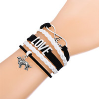 Barato Banda De Pulseira Longa-Unique Infinity Bracelets Antique Long-Haired Dog Tibetano Silver Tone Hiphop Leather Bracelets Fashion Wrist Bands Jewelry