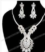 Diamant blanc Cleopatra mariage mariée jewerly set collier ((40 + 3cm) earings (60mm * 25mm (ming)