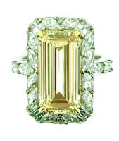 Wholesale Emerald Cut Diamond Yellow Gold - 4.41 ct Ctr Emerald Cut Fancy Light Yellow Diamond-w GIA 18k Plat Ring - HM1435