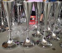 ingrosso vasi alti-elegante bicchiere alto colore polacco vasi da sposa centrotavola vaso di fiori di grandi dimensioni bocca vaso di metallo per la casa decorazione di nozze