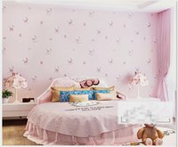 Wholesale Wallpapers For Baby Girls Room - Hello Kitty Style Cartoon Wallpaper non-woven eco-friendly Tactic child romantic baby room wall paper for girls children