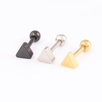 Ear Tragus Barbell Round Titanium brincos roscados quatro Pentacle triangle 316L Stainless Steel 16G bar Steel Black Gold
