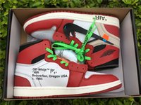 Wholesale Perfect Basketball Shoes - Double box+With Carbon Fiber OFF-WHITE x Retro 1 Beaverton Oregon USA 1985 Basketball Shoes Perfect quality Airs 1s Sport Sneakers Size 8-13