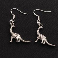 Wholesale Hook Earring Backing - 925 Silver Hook Dinosaur Walking Back Earrings 40pairs lot Antique Silver Dangle Chandelier E168 40x21mm Hot sell