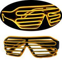 barras de gafas de sol al por mayor-Gafas de sol del club Bar Performance EL Wire LED Light Glasses Nightclub Artículos de fiesta Navidad Halloween Ropa Decorar suministros 15xz C R