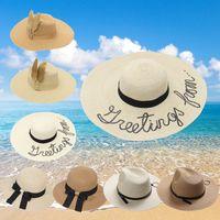Wholesale Sequin Cowboy Hats - Ode to joy 2 big hat seaside resort sun block letters sequins travel folding straw hat Female fashion hats wholesale