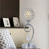Wholesale Crystal K9 Table Lamp - Modern K9 Crystal table lamps with E14 Bulbs Crystal Desk Lamps Bedside lamp Free shpping