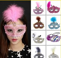 Wholesale Eye Masks Party Venice - 2017 Women Feather Masquerade Half Face Halloween Masks Party Lace Venice Makeup Sexy Eye Mask Wholesale Mix Colors Choose