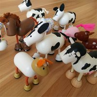 Wholesale Wood Handmade Animals Toys for Kids Children Farm Animal Wooden Zoo Cat Pig Horse Baby Educational Toys