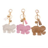 Wholesale Leather Elephant Bag - fashion cute elephant imitation diamond key chain candy colors tassel penden vintage girl bag pendant creative key chains for women jewelry