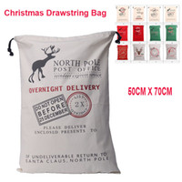 Wholesale White Christmas Stockings Wholesale - 2017 Christmas Large Canvas Monogrammable Santa Claus Drawstring Bag With Reindeers, Monogramable Christmas Gifts Sack Bags OTH319