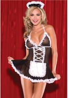 lingerie chaude babydoll sexe achat en gros de-Sexy Costumes Dentelle lingerie sexy chaude érotique Cosplay Français Maid Uniforme V - Cou profond lingerie Robe Babydoll Lenceria Costume De Sexe Sous - Vêtements