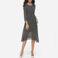 Wholesale Xxl Evening Gowns - FEIBUSHI 2017 Wholesale Hot Sale New Fashion Women Summer Navy Blue Chiffon Polka Dot 3 4 Sleeve fParty Evening Dresses Size S M L XL XXL