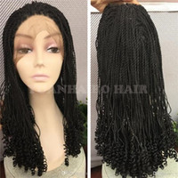 Wholesale Fashion short kinky twist braided lace front wigs glueless natural black wig with curly tips for african americans
