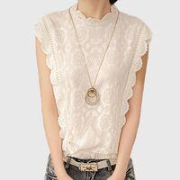 vintage kolsuz dantel bluzlar toptan satış-2016 Beyaz Dantel Üst Kolsuz Gömlek Kadın Yaz Vintage Blusa Feminino Tığ Rahat Gevşek Artı Boyutu Kadın Bluzlar A351 Tops